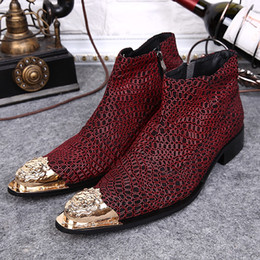 Male Style Boot Shoes Canada - New Design High Quality Red Plaid Male Boots Fashion Boots Metal Toe British Style Mens Shoes Wihter Oxfords Business Boots Dress Zips Shoes