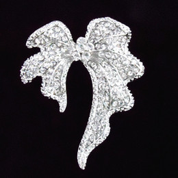 $enCountryForm.capitalKeyWord NZ - 3.2 Inch Huge Bow Pin Brooch Clear Rhinestone Diamante Bridal Broach B706 Vintage Silver Tone Big Bow Brooch