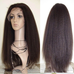 Virign Indian Hair Canada - Kinky Straight Full Lace Human Hair Wigs For Black Women Peruvian Virign Hair Lace Front Wigs With Baby Hair 8-24 inch