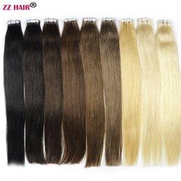 Zzhair 14-24 inch 100% Braziliaanse tape Remy Menselijk Hair Extensions 20 Stks / Pack Lijm in Haar Huid Inslag 30G-70G