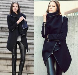 $enCountryForm.capitalKeyWord Canada - Plus Size 2014 New Fashion Style Women's Coat Long Zipper Lapel Neck Wool Coats Pockets Irregular Collar Winter Casual Cappa Shawl Coats