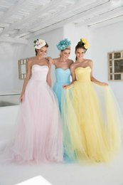 Tarik Ediz Robe En Cristal Tulle Pas Cher-Plus Size Robes de bal bon marché Jaune Bleu Ciel Rose 2015 Tarik Ediz Party Backless robe de soirée longue Occasion Pageant Simple Robes Sexy Chine