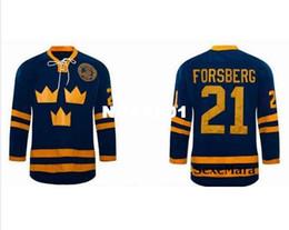 Мужчины Горячие # 21 Питер Форсберг Джерси команда ШВЕЦИЯ Хоккей на траве Джерси Пользовательские Ваше имя ИЛИ Номер высокого качества вышивки Джерси