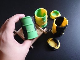 Oil Barrel Drum Canada - silicone oil barrel container jars dab wax vaporizer oil rubber drum shape container 26ml large food grade silicon dry herb tool DHL