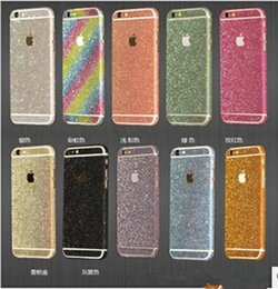 Back glitter iphone sticker online shopping - Luxury Colorful Full Body Sticker Bling Skin Cover Glitter Diamond Front Sides Back Screen Protector For iphone S SE plus S