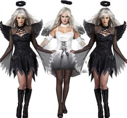 Women Costumes Angels Canada - New Black Dark Devil Fallen Angel Costume with Wing Sexy Adult Cosplay Exotic Apparel Halloween Costume for Women 8845