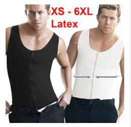 Corsets Size Xs Canada - 100% Latex Slimming Body Shaper Vest faja reductora hombre XS-6XL Plus Size Waist Training Corsets Steel Boned Waist Trainer Shapewear Men