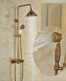 $enCountryForm.capitalKeyWord Canada - Wholesale And Retail Modern Antique Brass Rain Shower Head Faucet Valve Mixer Tap W  Hand Shower Sprayer Shower Column