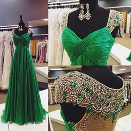 Barato Vestidos Esmeralda Verde Pageant-New Arrival 2017 Sexy Cheap Emerald Green Prom Dresses Cap Manga Chiffon Formal Party Evening Dress Cristal Long Sheer Back Pageant Vestidos