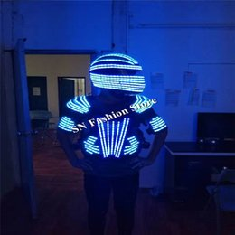 $enCountryForm.capitalKeyWord Canada - L99 LED helmet ballroom dance led costumes mens robot dance clothes led suit luminous mask party stage show dj singer glowing wears lighting