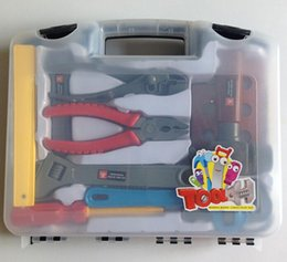 Wrench Parts Canada - 6pcs lot Axe Ruler Pliers Wrench Hammer Screwdriver DIY Builders toys Construction Toy Early Educational Toy For Kids Hand Tool Toy