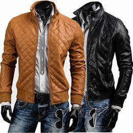 Imitation Clothing NZ - Hot New Men's imitation Leather Short Jackets Motorcycle Zipper Cotton Plaid Coat Autumn Winter Clothing Outerwear free shipping