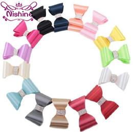 "$enCountryForm.capitalKeyWord Canada - Nishine 3.2"" Shiny Luxe Flower Bows With Rhinestone Button Handmade Hard Satin Bow For Kids Girls Hair Accessories"