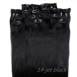 "Clip Human Hair Extensions 8pcs Black Canada - Brazilian Hair 18""-26"" 8pcs 1# Jet Black wholesale 4 sets Clip in Hair Brazilian Indian Peruvian Malaysian Virgin Remy Human Hair Extensions"