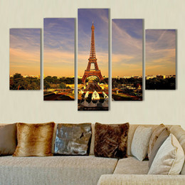 $enCountryForm.capitalKeyWord NZ - 5 Piece Eiffel Tower Painting Home Decor Art Picture Print on Canvas Unframed Painting Best Gift Hot Sale