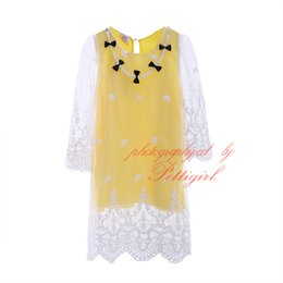 Children pearl dress online shopping - Cute Yellow Girls Dresses Fashion Lace with Pearl Necklace Kids Long Sleeve Dress Spring Autumn Child Clothes GD40420