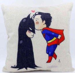 Car Sofa Couch Canada - Cushion cover cartoon Superman kiss Batman pillow case linen cotton pillow cover girl love sofa cushion case for couch car 45x45cm