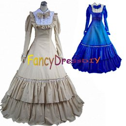 Cosplay Victorien À Manches Longues Pas Cher-Gros-2015 à manches longues Party Victorian Gothic Lolita Custome fait Ruffle Lolita Cosplay Costume Fancy Party Dress V083