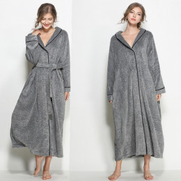 Barato Roupões De Inverno Para As Mulheres-New Grey Winter Woman Man Unisex Lovers Robes Plus Size Bathrobe Wedding Party Robe Cheap Warm Sleepwear