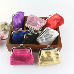 Shiny Women Wallet Canada - NEW fashion womens mini coin wallet kids change purse Sequins candy-colored shiny coin purse bag gift 12pcs lot 1933