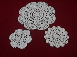 White Cotton Napkins Australia - Handmade Crocheted Doilies cup pad vase mat 3 Design, White lace Round coasters Home Textiles 10-20 cm table mat 30PCS Table Napkin
