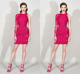 Shorts Personnalisés En Chine Pas Cher-Modes 2016 Zuhair Murad Fuchsia Lace One Long Sleeve Gaine Robes de cocktail Sexy Short Party Dress Plus Size Custom Made China EN12152