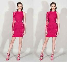 $enCountryForm.capitalKeyWord Canada - Modest 2016 Zuhair Murad Fuchsia Lace One Long Sleeve Sheath Cocktail Dresses Sexy Short Party Dress Plus Size Custom Made China EN12152