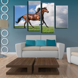 large horse canvas art print NZ - 4 Panels horse art large picture frames Wall painting print on canvas for home decor ideas paints on Wall pictures No framed