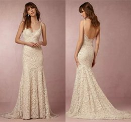 Barato Bainha De Espaguete Vestidos De Noiva-2018 BHLDN bainha Backless vestidos de noiva Sexy Spaghetti Strap sem mangas Full Lace Sweep Train Beach Bridal Gowns Custom Made