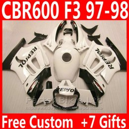 white black repsol NZ - REPSOL black white body motorcycle parts for Honda 1997 1998 CBR 600 F3 fairing kit CBR600F3 Custom fairings CBR600 F3 95 96 CGIS
