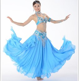 Barato Dança Do Ventre Traje Conjunto Azul-10 cores Stage Performance Oriental Belly Dancing Clothes 3 peças Suit Bead Bra, Belt Skirt Belly Dance Costume Set FN033