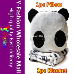 $enCountryForm.capitalKeyWord Canada - 2pcs Free shipping 2 Fuction Super soft Velour Cartoon Panda Plush Pillow Seat Cushion + Soft Air blanket For Sleeping