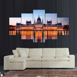 $enCountryForm.capitalKeyWord Canada - Free shipping 5pcs Budapest Night Oil Painting Printed Painting On Canvas Home Decorative Wall Art Picture Quadro Decorativo