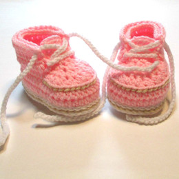 Baby Shoes Booties NZ - Cute Handmade Knit Crochet baby pink Handmade Crochet Warm Winter Booties Boots Baby First Walker Shoes with Shoelace 0-12M customer