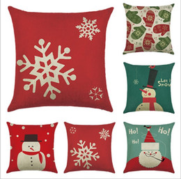 4545CM Throw Pillow Covers Santa Claus Snowman Linen Case Cushion Cover Cotton Pillowcases Sofa Decorative