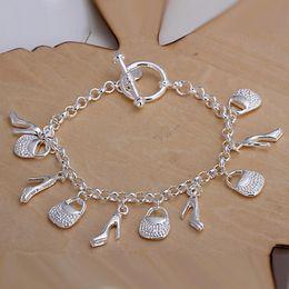 925 Bracelet Shoes Canada - Hot sale best gift 925 silver Hanging shoe bag Bracelet DFMCH108, brand new fashion 925 sterling silver plated Chain link bracelets