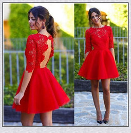 Short Red Lace Prom Vintage Dress Canada - Best Selling Red Short Prom Dresses 2016 New Red Formal Dresses Above Knee Little Dress For Party A-Line Lace Evening Prom Gowns Women