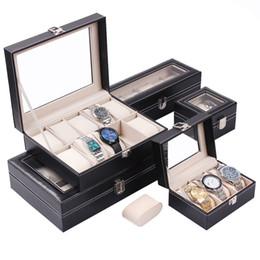 Luxury Display Cases Canada - Luxury Black PU Leather Jewelry Watch Display Boxes Bracelet Bangle Holder Storage Organizer Case