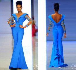Barato Vestido De Renda Com Mangas-Mangas compridas Jumpsuits 2017 Fouad Sarkis vestidos Evening Wear Blue Sheer Jewel Lace Appliques com Beading Sequins Backless Calças Vestidos