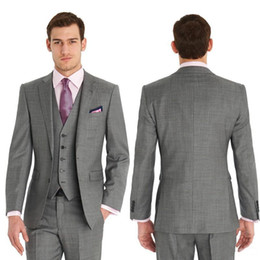 classic gray groom suit Canada - Custom made Slim Fit Two Buttons Formal Best Man Wedding Suits Groom Tuxedos Gray Classic Man Groom Wedding Suit (Jacket+Pants+Tie+Vest)