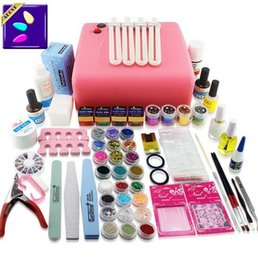 Barato Kits De Manicure Diy-2015 transporte livre kit Full Set Acrílico Pó Gel UV escova Pen lâmpada UV do prego kit Art DIY Manicure