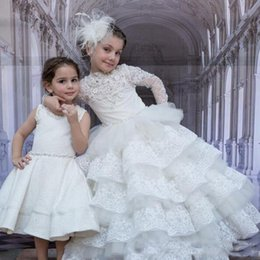 $enCountryForm.capitalKeyWord Australia - 2018 Newest Beauty White Lace Ball Gown Flower Girl Dresses Long Sleeves Beads Tiered Floor Length Kids Pageant Gown Wedding Dress