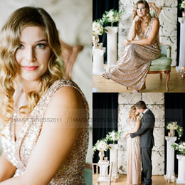 Long Gold Sheath Canada - Rose Gold Sequins Maid Of Honor Dress Sheath Deep V-Neck Pleated Long Sparkly Formal Gowns Custom made Cheap Sequins Bridesmaid Dress