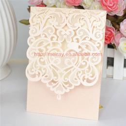 Wholesale Laser Cut Wedding Invitation Pocket Greeting Cards Pockets Fold Invitations Peach