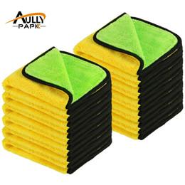 Atacado-12pcs 40cmx40cm super grosso plush microfibra carro panos de limpeza cuidados com o carro microfibra cera polimento detalhando toalhas verde / amarelo