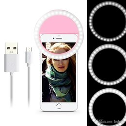 Discount lamps for charging phones - Rechargeable Universal Luxury Smart Phone LED Flash Light Up Selfie Luminous Phone Ring For iPhone for Android With USB