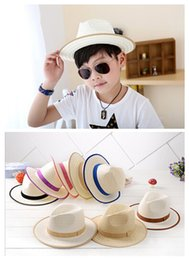 $enCountryForm.capitalKeyWord Canada - 2015 hot sales Children Straw Cowboy Jazz Visor Hats Kids Summer Beach Casual Sun Caps For Girls Boys 7 Color QR