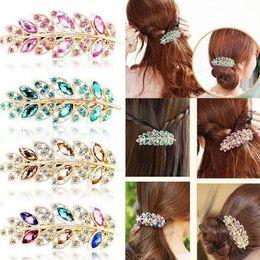 Discount red leaf headband - Hot Korean Fashion Women Leaf Crystal Rhinestone Barrettes Hairpin Headband Jewelry Hair Accessories