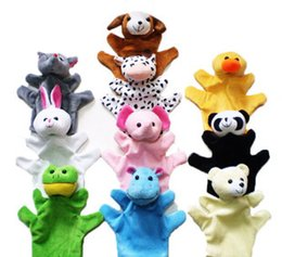wholesale doll houses NZ - Wholesale-hand puppets flush fabric dolls gift glove para play game in house bed bags cartoon duck teddy bear panda dograbbit cow