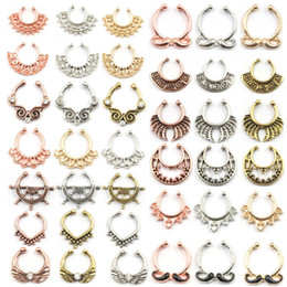 septum piercings Australia - 100pcs Mixed New Summer style rose gold fake nose ring septum clip piercing silver indian nose rings and studs women body jewelry